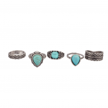 Turquoise Stone Tribal Ring Set