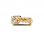 "Goldtone ""Bae ""Baby Babe Verbiage Name Plate Ring sz 8"