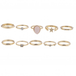 Goldtone Druzy Star Celestial Novelty Stackable 10PC Ring Set
