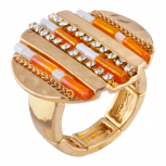 Gold Tone Orange Beaded Hammered Circle Stretch Statement Ring