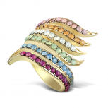 Goldtone Multicolor Rhinestone Vertical Swirl Statement Ring