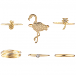 Gold Tone Crystal Tropical Flamingo Pineapple Palm Tree Ring Set