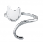 Silvertone Cat Kitten Kitty Emoji Novelty Open Ended Ring Size 8