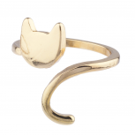 Goldtone Cat Kitten Kitty Emoji Novelty Open Ended Ring Size 8