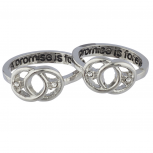 Silvertone Promise Purity Engraved Promise Ring Set 2PCS Size 8