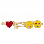 Gold Tone Red Heart Yellow Emojis Peace Sign Multi Ring Set 4pcs
