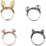 Gold Rose Gold Silver Hematite Tone KitschyAnimal Ear Ring Set