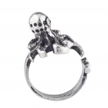 Burnish Silver Tone Vintage Sea Monster Octopus Statement Ring