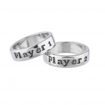 Silvertone Player 1 2 Video Games Gamer Girl BFF Ring Set