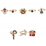 Gold Tone Christmas Xmas Festive Santa Tree Novelty Ring Set 8PC