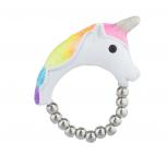 White MagicalUnicorn Rainbow Glitter Novelty Stretch Ring