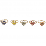 Gold Tone Heart Enamel Best Friends Bestie Multi Ring Set 5PC