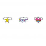 Silver Tone Magical Rainbow Unicorn Heart Star Ring Set 3PC