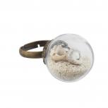 Burnish GoldTone Encapsulated Sea Shell Nautical Adjustable Ring