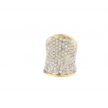 Crystal Rhinestone Pave Gold tone Glamour Ring