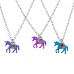 Silver Tone Blue Purple Pink Unicorn BFF Best Friends Necklaces