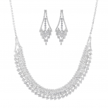 Silvertone Rhinestone Special Occasion Fashion Jewelry Set 2PC