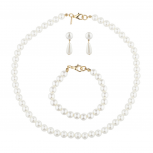 Gold Tone Faux Pearl Strand Special Occasion Fashion Set 2PC