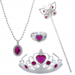 Pink Princess Tiara Wand Necklace Halloween Costume Set 4PC