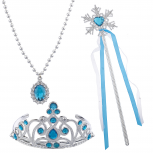 Blue Princess Tiara Wand Necklace Halloween Costume Set 3PC