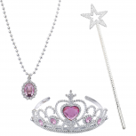 Kids Princess Tiara Wand Necklace Halloween Costume Set 3PC