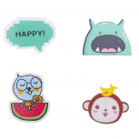 Kitschy Assorted Characters and Happy Pin Set (4PCS)