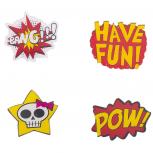 Funky Assorted Verbiage Bang Pow Pin Set (4PCS)