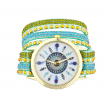 Boho Feathers Face Studded Bling Wrap Bracelet Watch