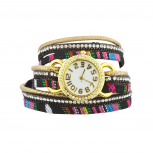 Tribal Mexican Stripe Aztec Print Studded Wrap Bracelet Watch