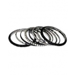 Rocker Mixed Media Bangle Set (8 Piece)