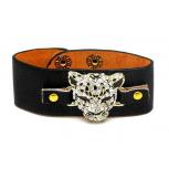 Leopard Pave Cat Black Faux Leather Snap Bracelet