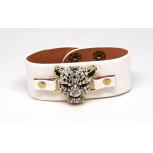 Leopard Pave Cat White Faux Leather Snap Bracelet