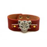 Leopard Pave Cat Faux Leather Snap Bracelet