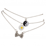 Yin Yang Sunflower Floral Pave Bow BFF Best Friends Forever Anklet Set (3 PC)