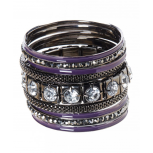 Edgy Violet Multi-Bangle Set (9 Piece)