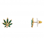 Delicate Green Pave Marijuana Pot 420 Leaf Stud Earrings