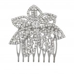 Silvertone and Pave Bling Flower Bride Bridal Metal Hair comb pin