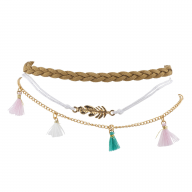 Gold Tone Boho Hippie Bright Tassel Feather Anklet Set 3PCS