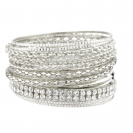 Pave Braided Mesh Multi Bangle Set.