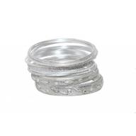 Glitter Texture Sparkle Rhinestone Multi Bangle Set