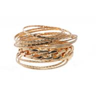 Textured Chain Link Multi Bangle Set