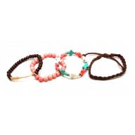 Pink, Teal Brown Cross Bead Arrow Arm Candy Bracelets(4 PCS)