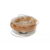 Hammered Textured Woven Braided Multi Bangle Set