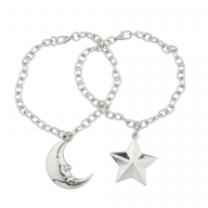 Star Moon BFF Best Friends Forever Necklace Set Man In The Moon (2 PC).