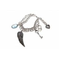 Wing Pave Key Lock Heart Chain Link Charm Bracelet