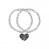 Gunmetal Partners in Crime BFF Best Friends Heart Charm Bracelets (2 PC)