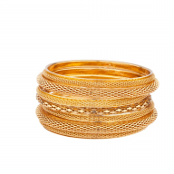 Mesh Braided Multi Bangle Set
