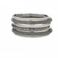 Mesh Braided Gunmetal Multi Bangle Set