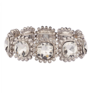 Bridal Crystal Pave Circle Flower Sun Stretch Bracelet