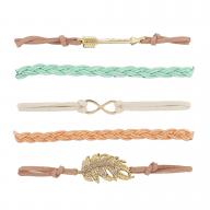 Gold Tone Pastel Boho Arrow Infinity Arm Candy Bracelet Set 5PC